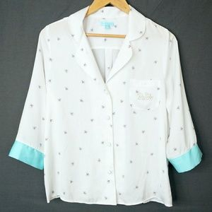 Betsey Johnson Silky Bride Button Down Pajama Top